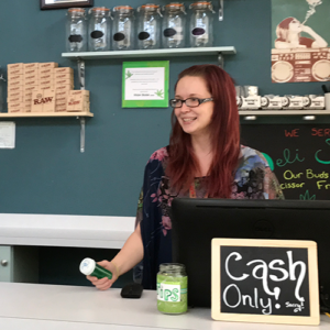 Budtender at counter